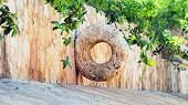 stock photo of yucatan  - Stone Mayan hoop on Yucatan peninsula Mexico - JPG