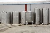 stock photo of silos  - Stainless steel storage tank silos for industry - JPG