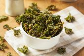 foto of kale  - Homemade Green Kale Chips with Vegan Cheese - JPG