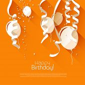 stock photo of confetti  - Modern birthday background with confetti and flying balloons  - JPG