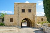 stock photo of manor  - The entrance to the Lusignans Manor nowadays serving as the museum of Aphrodite Sanctuary Kouklia Cyprus - JPG