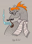 foto of happy new year 2014  - original hipster horse in glasses - JPG