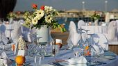 Постер, плакат: Tables Set Up For Wedding Reception