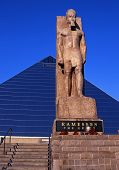 foto of memphis tennessee  - View of the Ramesses statue and The Pyramid Arena Memphis Tennessee USA - JPG