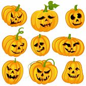 pic of angry smiley  - vector illustration of smiley collection of Halloween pumpkin - JPG