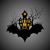 pic of scary haunted  - vector illustration of haunted castle in scary Halloween night - JPG