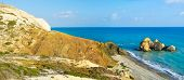 foto of saracen  - The Saracen rock on the Paphos coastneighboring with the famous Petra tou Romiou and the Aphrodite harbor Cyprus - JPG