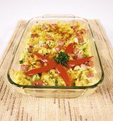 stock photo of pyrex  - Pasta casserole with ham - JPG