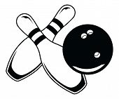 picture of bowling ball  - Illustration of a black bowling ball and two bowling pins in a simple graphic style - JPG