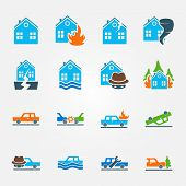 picture of fire insurance  - Bright flat insurance icons vector set  - JPG