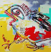 stock photo of acrylic painting  - Unusual original abstract art composition of crazy bird - JPG