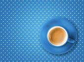 picture of poi  - coffee cup color blue on tablecloth pois - JPG