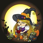 pic of bat wings  - Little Halloween Witch girl reading book - JPG