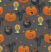 stock photo of drow  - Halloween doodles seamless pattern or background - JPG