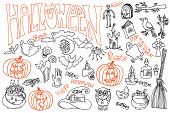 foto of drow  - Halloween doodles icons set with text - JPG