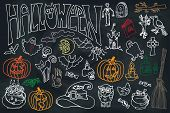 stock photo of drow  - Halloween doodles icons set with text - JPG