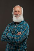 picture of long beard  - old man with a long beard with big smile on a dark background - JPG