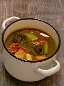 pic of stew pot  - close up of a pot of rustic hungarian beef goulash stew - JPG