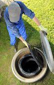 picture of underground water  - A Gardener standing obove underground rainwater cistern - JPG