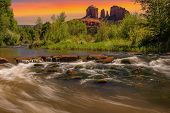 picture of cloud formation  - Nice Sunset Image of Cathedral Rock in Sedona Arizona - JPG