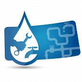 image of plumbing  - advertising sticker to repair plumbing for vector - JPG