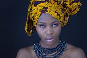 stock photo of sudan  - Portrait of a young African woman in traditional dress - JPG