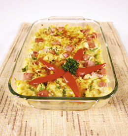 picture of pyrex  - Pasta casserole with ham - JPG