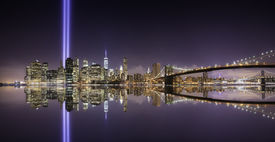pic of tribute  - Pano of Manhattan in the memorial day tribute lights at night New York - JPG