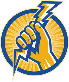 image of lightning bolt  - illustration or Imagery that shows a Hand hold a lightning bolt of electricity set inside a circle - JPG