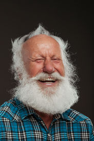 image of long beard  - old man with a long beard with big smile on a white background - JPG