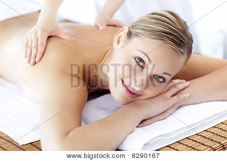 Caucasian Young Woman Receiving A Health Treatment
