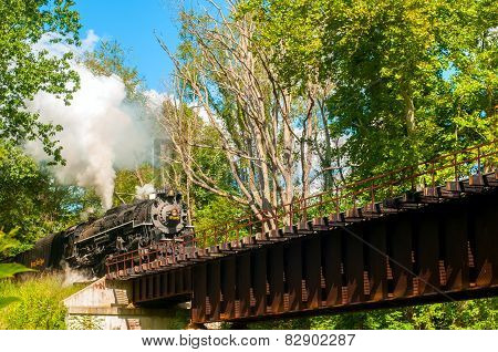 Train Approaching Bridge