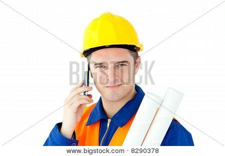 Young Male Worker Wearing Helmet