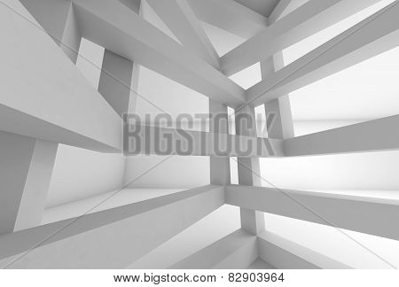 3D Background. Internal Space Of White Braced Construction