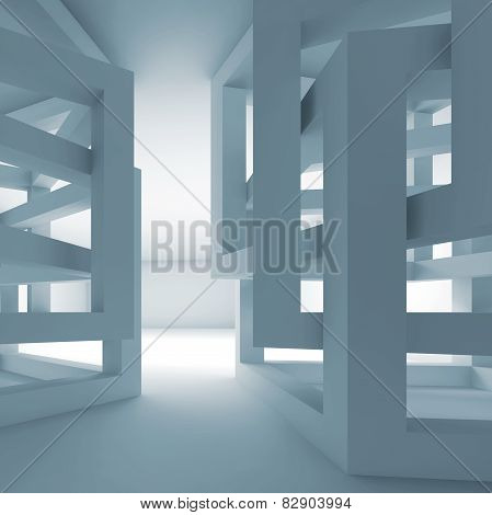 Abstract Empty 3D Blue Modern Interior With Chaotic Cubes