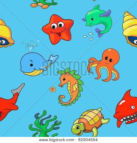seamless pattern of cartoon sea creatures, vector