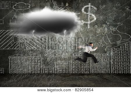 Businessman Running With Dark Cloud Raining And Lightning