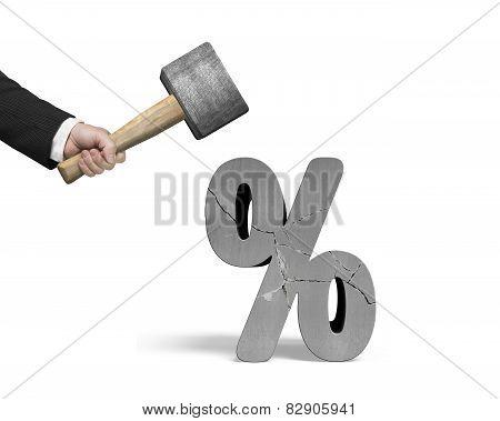 Hand Holding Sledgehammer Hitting Cracked Percentage Sign Isolated On White