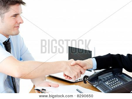 Assertive Businesswoman Shaking Hands With A Female Customer