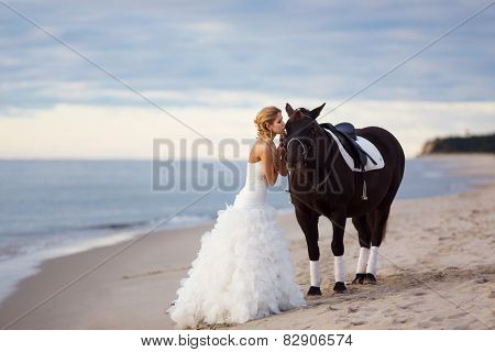 Bride With A Horse By The Sea
