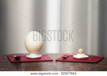 Ostrich And Hen Eggs In Eggholders