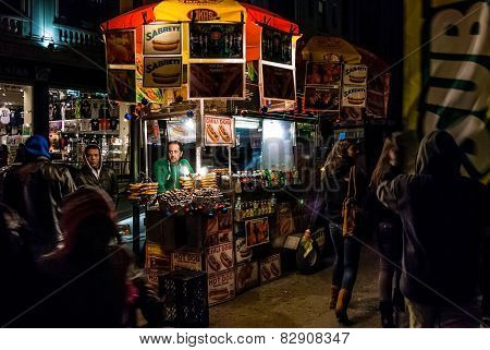 Street Vendor At Night