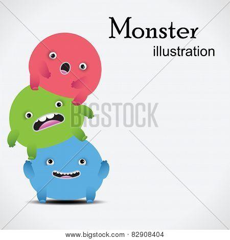 Set of cute vector monsters