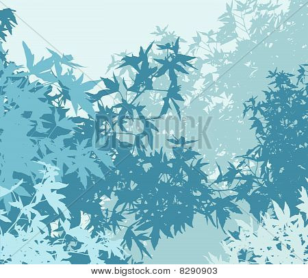 Colorful landscape of foliage in cold mist - Vector illustration