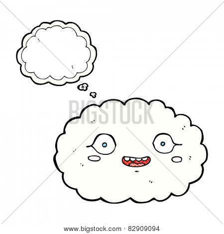 happy cartoon cloud with thought bubble