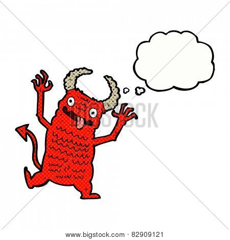 cartoon demon with thought bubble