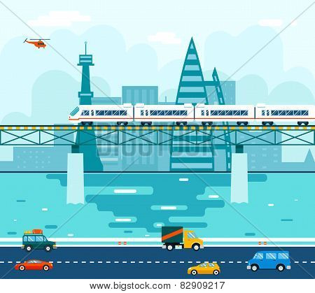 Road Cars Wagons on Bridge over River Transport Symbol Railroad Train Travel Concept City Sky Backgr