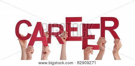 Many People Hands Holding Red Word Career