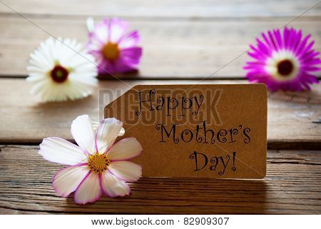 Label With Text Happy Mothers Day With Cosmea Blossoms
