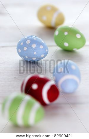 Close Up Of Six Colorful Easter Eggs